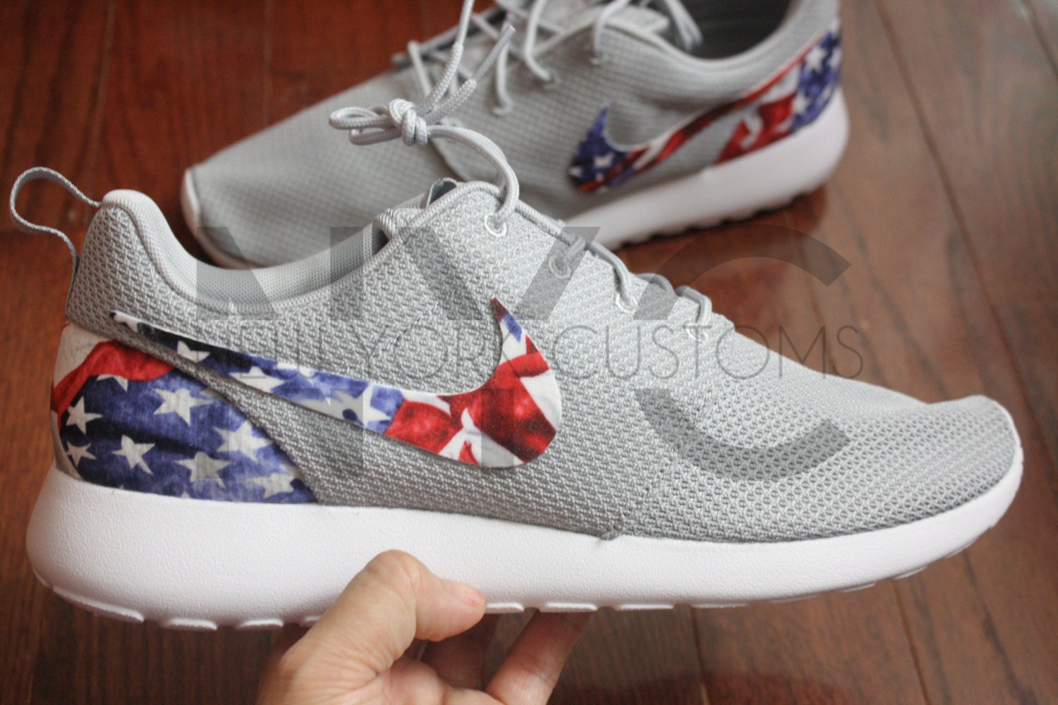 watch 85b97 c1717 ... where to buy american flag nike roshe one run grey custom men women  974f8 49908