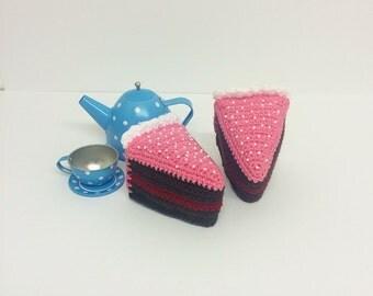 Play Food Crochet Birthday Cake 1 Slice, Gift, Amigurumi