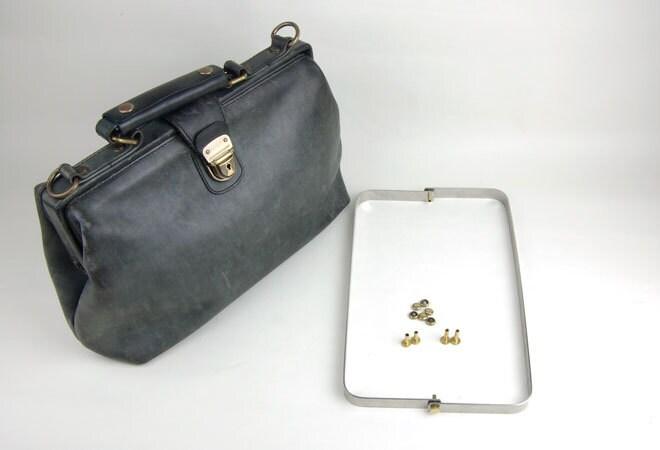 Black leather frame purse