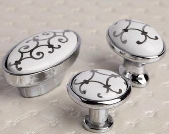Knobs Silver Flower / Shabby Chic Dresser Knobs / Ceramic Drawer Knobs  Pulls Handles / Unique
