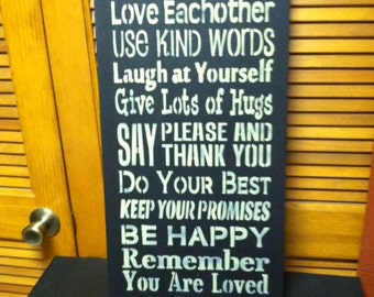 Family Rules wood Sign