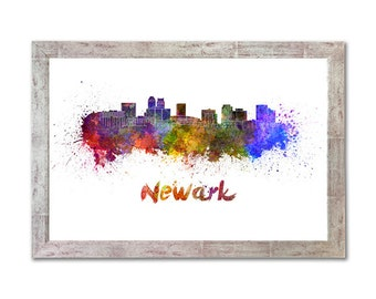 Newark skyline in watercolor over white background with name of city - SKU 1167