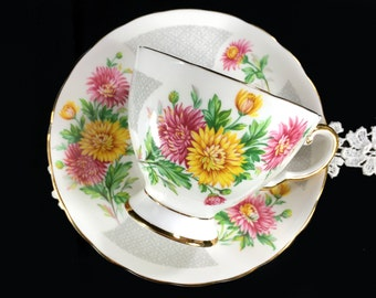 Tuscan Chrysanthemum Teacup and Saucer, November Birthday Tea Cup Made in England 1746