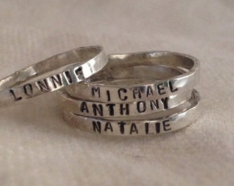 personalized sterling silver ring, 3mm, name ring, date ring