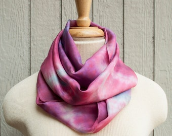 Silk Scarf - Hand Dyed (Pink, Blue, Purple)
