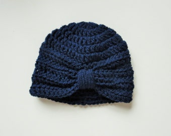 Handmade Crochet Baby Turban Style Hat in Midnight (Navy Blue) Made to order,Many Colours Available,great photo prop!Baby Gift, Baby Showers