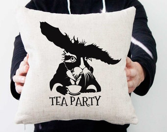 "Linen pillow. Natural pillow. Handmade pillow. Inspired by Tim Burton. Tea party scene. Rabbit from ""Alice in Wonderland"""