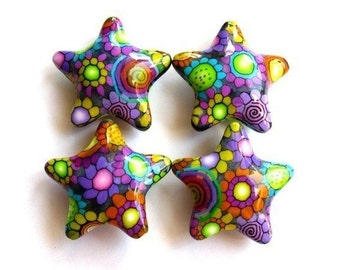 2 Large Polymer Clay Multi-color Star Beads