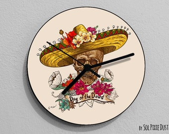 Mexican Sugar Skull - Day of the Dead -Dia de Los Muertos - Calavera - Wall Clock