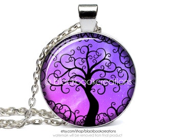 Purple Tree Of Life Necklace - Handmade