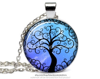Blue Tree Of Life Necklace - Handmade