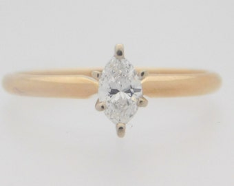 0.33 Carat Marquise Cut Diamond Solitaire Engagement Ring 14K Yellow Gold