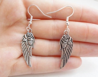 angel wing earrings - silver earrings - simple jewellery - dangle earrings - fashion jewellery - drop earrings - gift for her