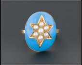 Antique Victorian Blue Enamel & Pearl Star Ring, 9ct Gold Ring