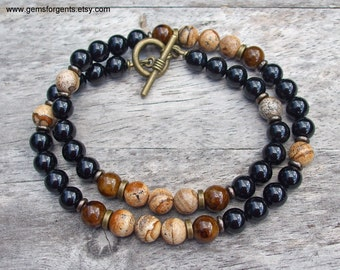 Brown Picture Japer, Coffee Brown Dolomite and Black Onyx, Mens Beaded Necklace, Mens Jewelry - N4