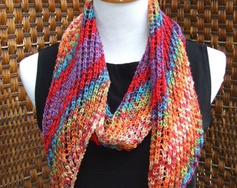 Multi colored narrow scarf, bright colors, unique scarf, skinny scarf, orange, red, blue