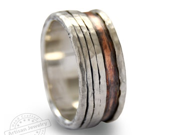 Men rustic  ring, wide silver copper band, Organic silver band, Durable ring for men, mixed metals spinners ring, Everyday ring, Copper band