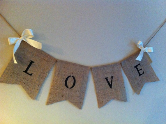 "Burlap ""Love"" sign. Country barn, rustic wedding decor, shabby chic, wedding signs"