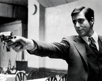 The Godfather Poster, Michael Corleone, Resturant Scene, Gun, Gangster, Italian Mafia