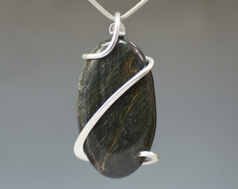 Blue Tiger Eye Oval Cold Forged Sterling Silver Pendant