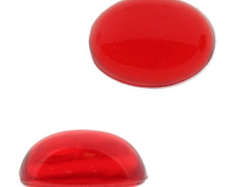 6x4mm Oval Lucite Cabochon - Ruby Unfoiled (144pcs)