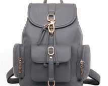 Gray leather backpack, school backpack, girl backpack