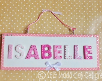 Personalised Pink and White Sparkles Name Plaque Children's Bedroom Door Sign Wall Decor Gift Idea