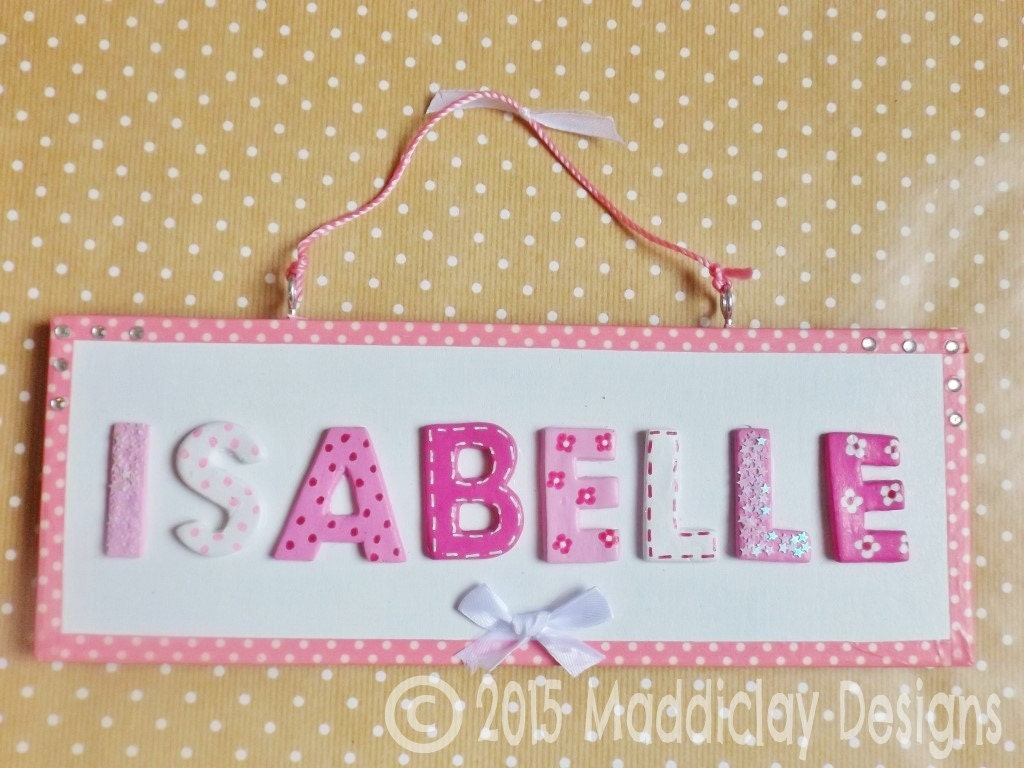 Personalised Pink and White Name Plaque Children\'s Sparkles Bedroom ...