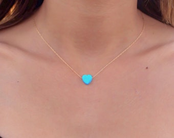 Opal necklace, heart necklace, gold necklace, opal heart necklace, heart necklace, opal necklace, blue opal jewelry