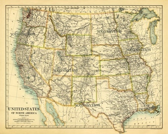 Map Of United States Etsy - Unite state map