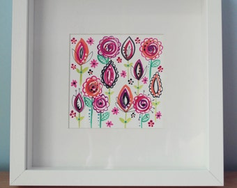 Original Framed Artwork - Doodle flowers