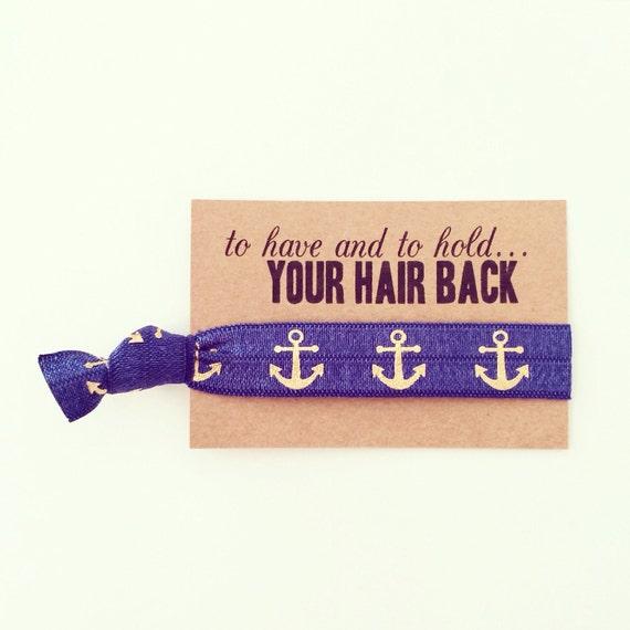 Nautical Bachelorette Hair Tie Favor | Navy Blue + Gold Anchor Hair Tie Favor, Nautical Anchor Hair Tie Favors, Nautical Bachelorette Shower