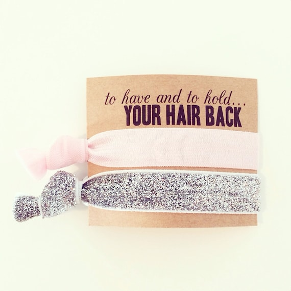 Bridesmaid Gift Hair Ties | Light Pink + Silver Glitter Hair Tie Favors, Bridal Shower Favor, Wedding Bachelorette Party Favor Hair Ties