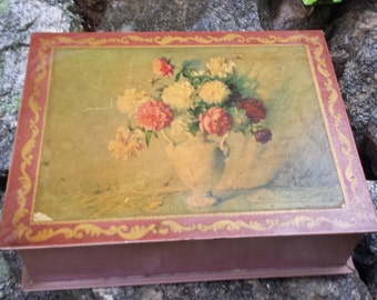 Vintage Metal Tin/Trinket Box - Vase of Flowers