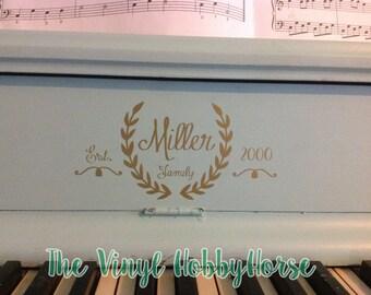 Personalized Family Crest for piano bridge