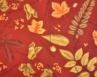 fabric destash quilter cotton Bittersweet by Sentimental Studios for Moda  Fall autumn leaves on rust brown 1/2 yard