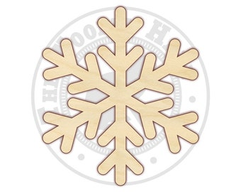 "Snowflake 4""-12"" - Wood Cutout  - 170318 - Unfinished wood"