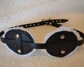 Bondage Black Leather Mask, Fleece Lined, BD-004