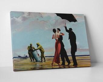 Banksy Dancing at The Wastes Gallery Wrapped Canvas Print. BONUS WALL DECAL!