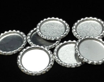 500pcs Flattened Flat Silver Linerless Bottle Caps, with hole or no hole, Flattened Chrome Bottle caps Bottle Cap,