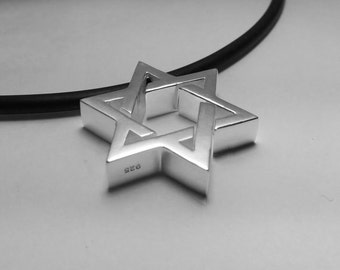 Star of David Necklace  -  Heavy and thick Sterling Silver