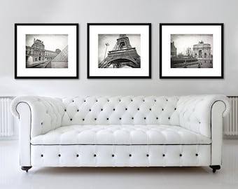 SALE, Paris Photography, Paris Print Set, Black and White, Fine Art Print, Travel, Eiffel Tower, Europe, Wall Art, Home Decor, Set of 3