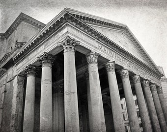 Rome Photography, Pantheon, Rome Print, Black and White, Roman Architecture, Columns, Travel Photo, Italy Photo, Europe Wall Art, Home Decor