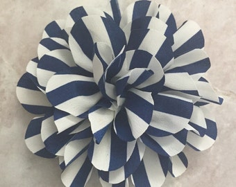 Navy Striped flower, chiffon flower, flower puff, DIY supplies, large flower,