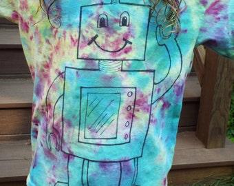 Kids Robot Tshirt, Kids Medium, Kids Tie Dye Robot Shirt, Retro Robot Birthday, Tiedye Boys Clothing, Geekery Kids Nerd Shirt, Robot Love