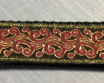 Black Red and Gold Brochade Keychain Wristlet