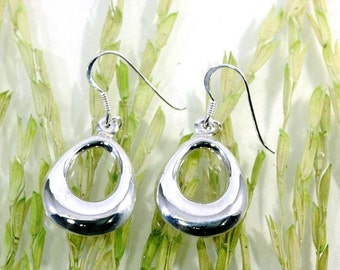 Plain earrings 925 sterling silver   -- 4590