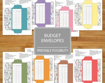 Cash Envelopes Set of 8  - Printable Budget Envelopes Floral Pattern - Budgeting Envelopes - Set of Envelopes with Flower Pattern