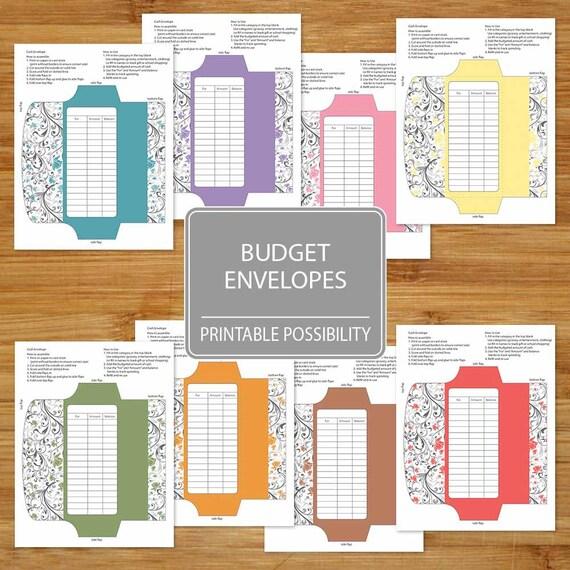 Cash Envelopes Set of 8 Printable Budget Envelopes Floral