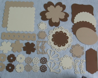 Brown photo mats, Photo mat die cuts, Label die cuts, Flower die cuts, Embellishments, Scrapbook die cuts, Scrapbook photo mats